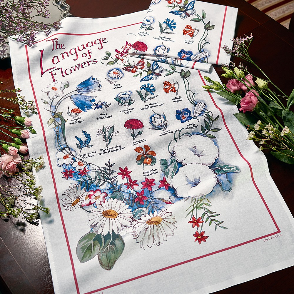 Pair of Victorian Language of Flowers Tea Towels | Kitchen | Museum ...
