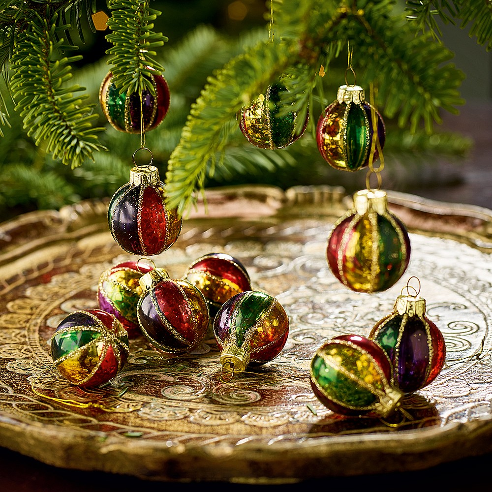 Christmas Baubles.12 Harlequin Christmas Baubles