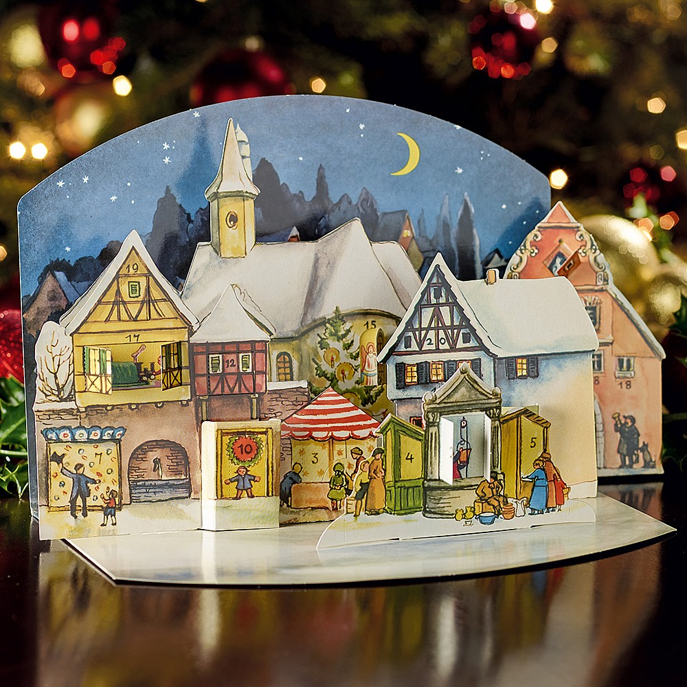Christmas Village.Christmas Village 3 D Advent Calendar