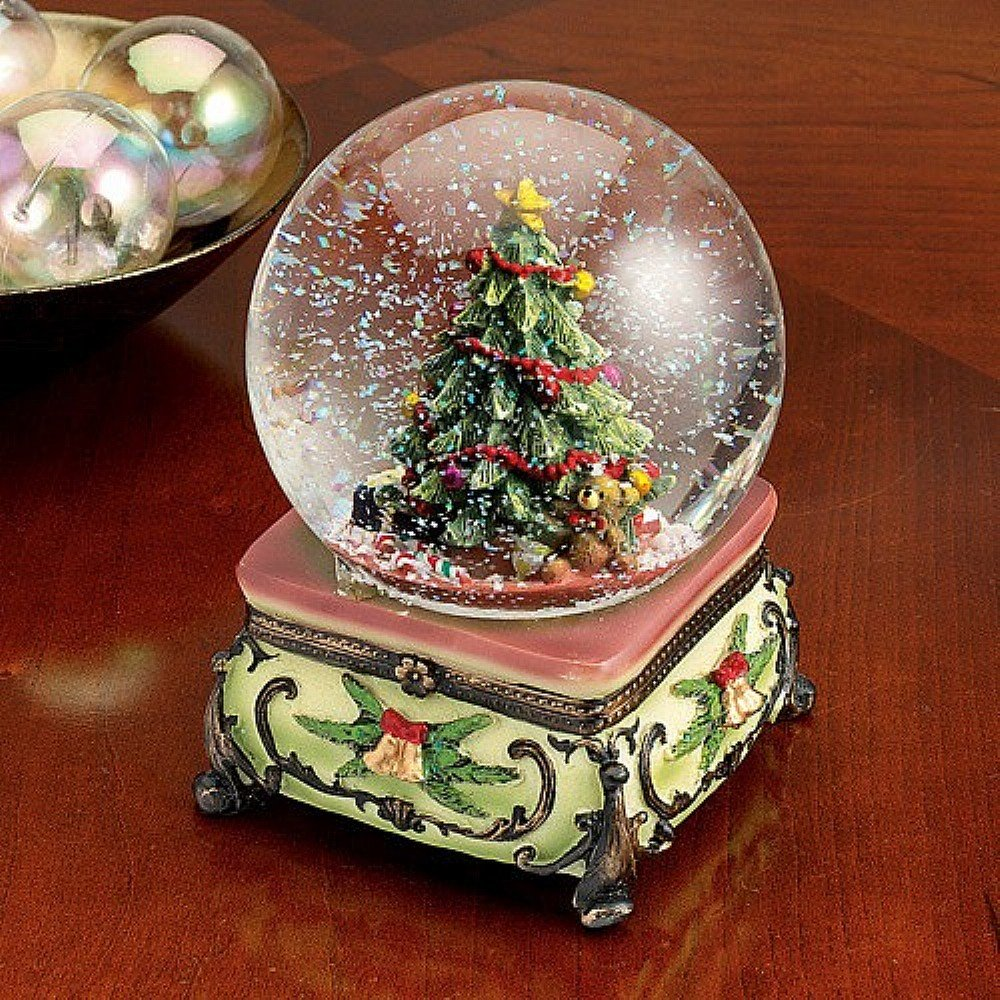 christmas tree musical snowglobe