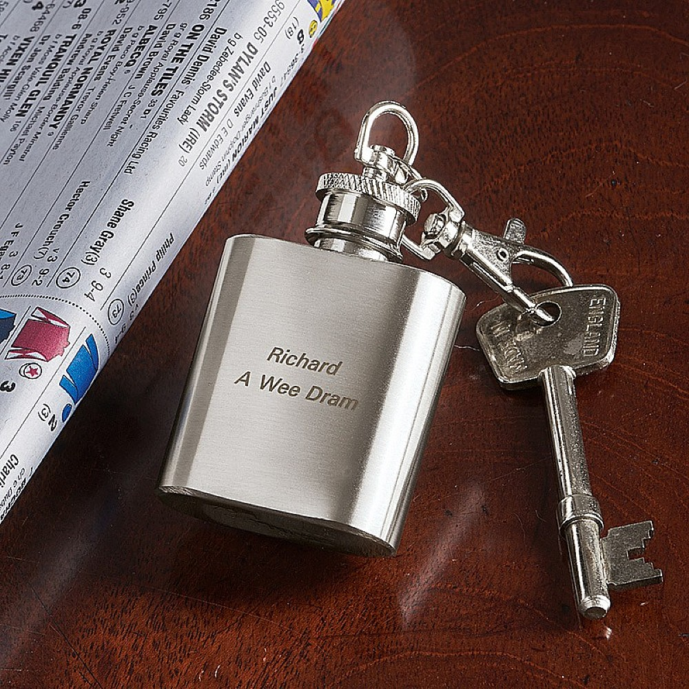 Personalised Hip Flask Keyring