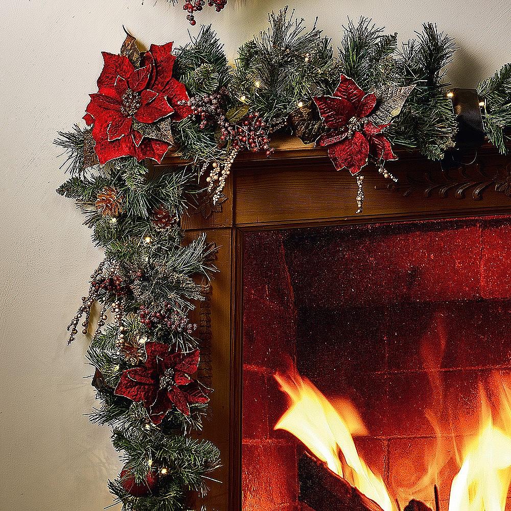 christmas decorations poinsettia led garland