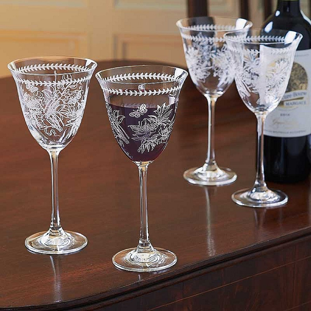 Set of 4 Botanical Wine Glasses