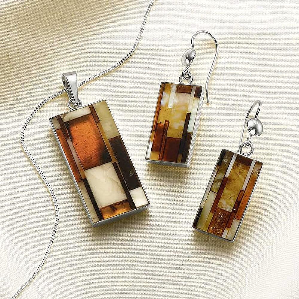 Mosaic Amber Pendant & Earrings