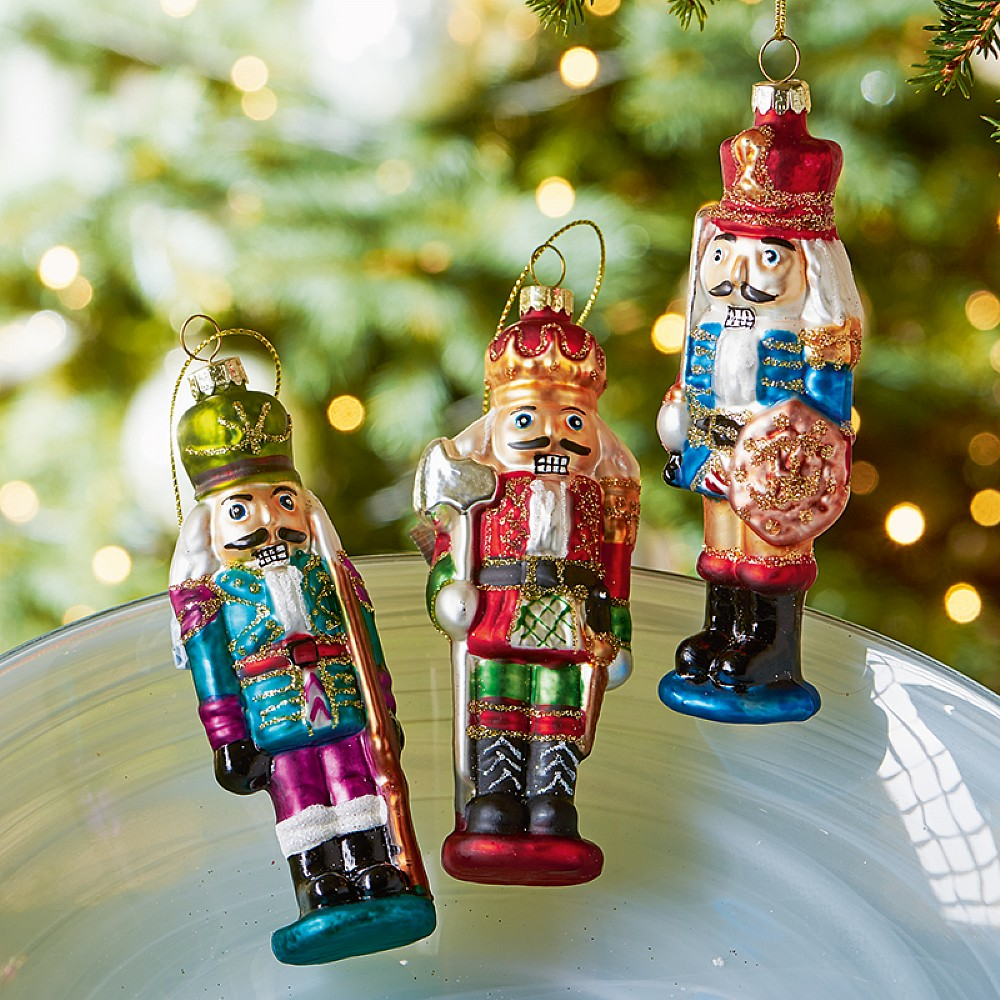 Set of 3 Glass Nutcracker Ornaments | Christmas | Museum Selection