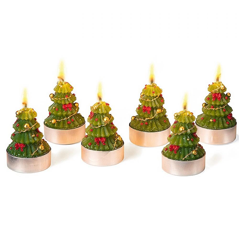 Christmas Candles.Set Of 6 Christmas Tree Shaped Candles