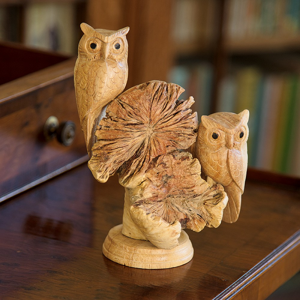 Hand carved owls ornaments & statues museum selection