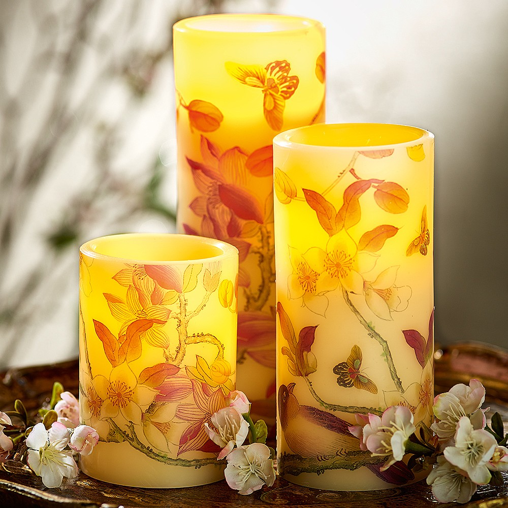 Image of 3 Oriental Flowers LED Candles