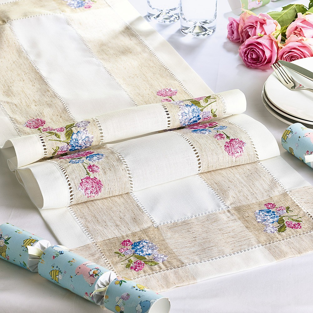 Embroidered Hydrangea Table Runner