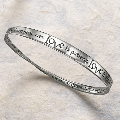 Love Is Patient Silver Bangle