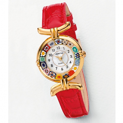 Red Millefiori Murano Glass Watch