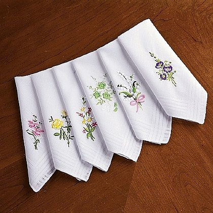 Museum Selection 6 Embroidered Handkerchiefs