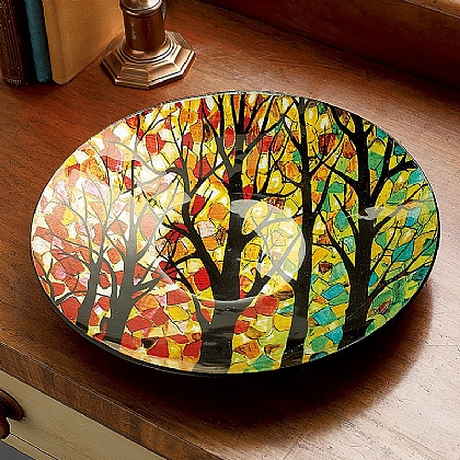 Museum Selection Forest Leaves Glass Bowl