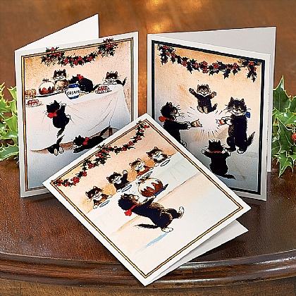 Museum Selection 12 Christmas Cats Cards