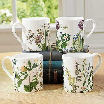 Museum Selection Set of 4 Himalayan Flowers Mugs