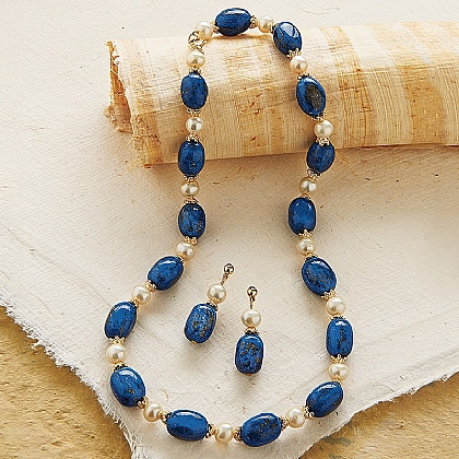 Museum Selection Imperial Roman Lapis Necklace & Earrings
