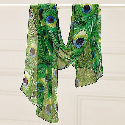 Peacock Feathers Silk Scarf