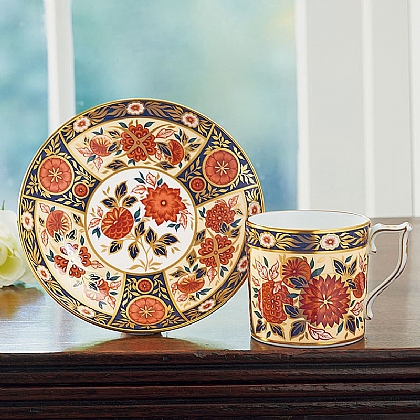 Antique Chrysanthemum Coffee Can & Stand