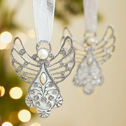 Pair of Crystal Angel Decorations