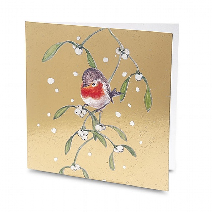 Robin on Mistletoe Christmas Cards