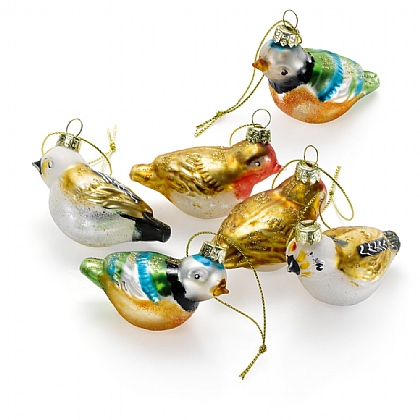 Set of 6 Glass Bird Decorations