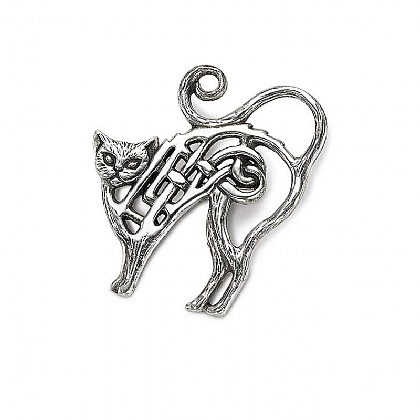 Pewter Celtic Cat Brooch