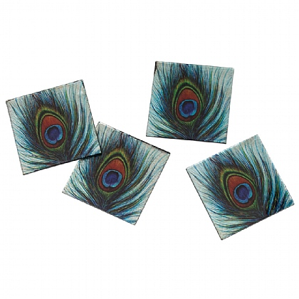 Peacock Feather Set of 4 Glass Coasters