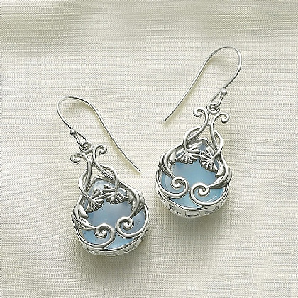 Arts & Crafts Chalcedony Earrings