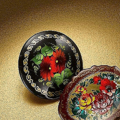 Museum Selection Black Handpainted Russian Brooch