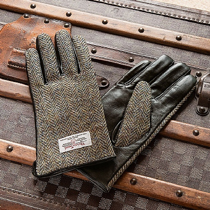 Gentlemen's Harris Tweed & Leather Gloves