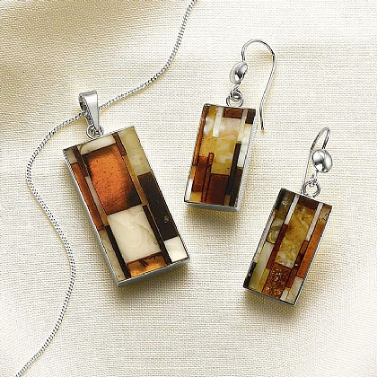 Museum Selection Mosaic Amber Pendant & Earrings