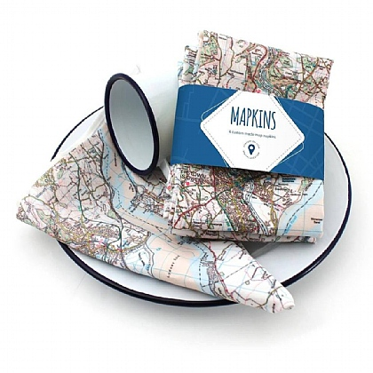 Personalised Set of 4 Landranger Map Napkins