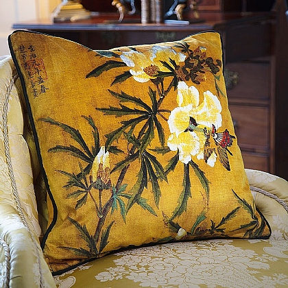 Oriental Hibiscus & Butterfly Velvet Cushion