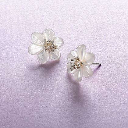 Mother-of-Pearl Blossom Earrings