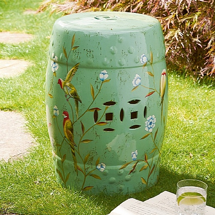 Chinoiserie Ceramic Stool