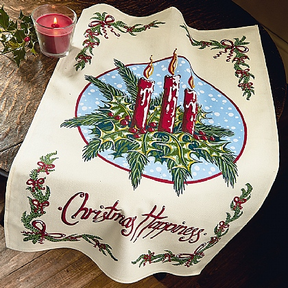 Christmas Candle Tea Towel