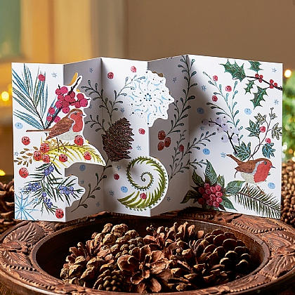 Frosted Foliage Concertina Cards
