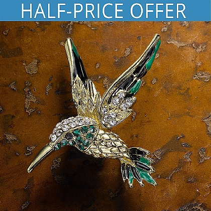 Crystal-Set Hummingbird Brooch