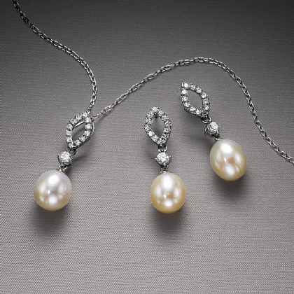 Jazz Age White Sapphire & Pearl Pendant & Earrings