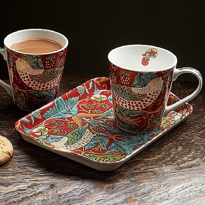 Strawberry Thief Mugs & Tray Set