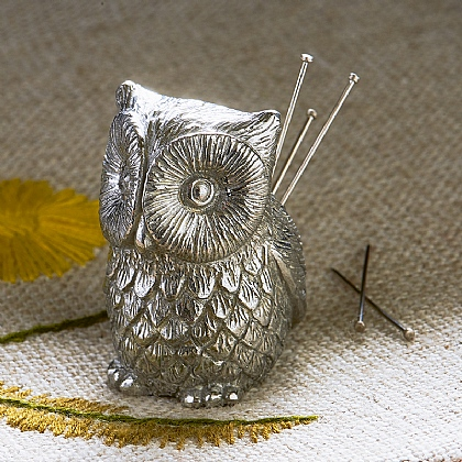 Pewter Owl Pin Cushion