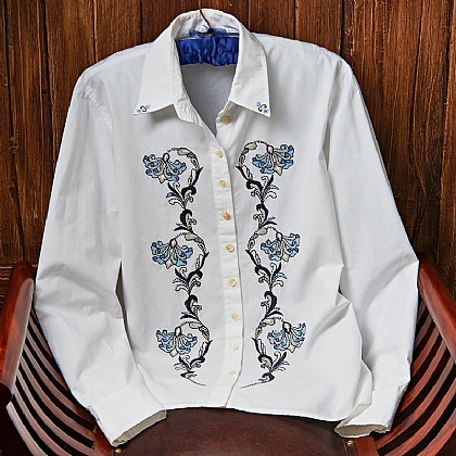 Embroidered Arabesque Cotton Blouse