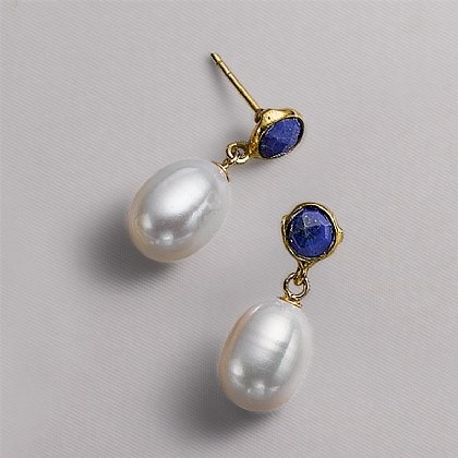 Titian Lapis & Pearl Earrings