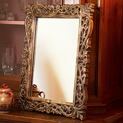 St Anno Carved Mango Wood Mirror