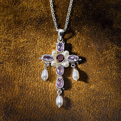 Gemstone Cross Pendant