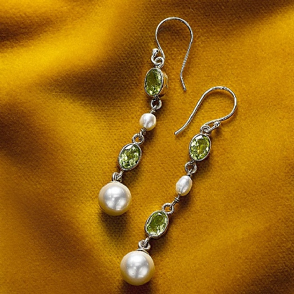 Empress Peridot & Pearl Earrings