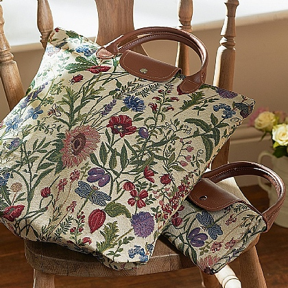 Flower Tapestry Fold Away Bag