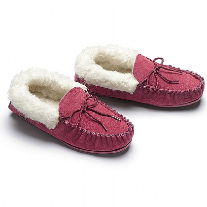 Suede Moccasin Lined Slippers