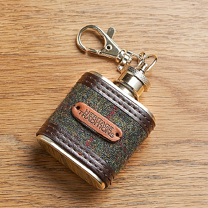 Tweed Hip Flask Keyring