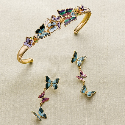 Art Nouveau Enamel Butterfly Jewellery